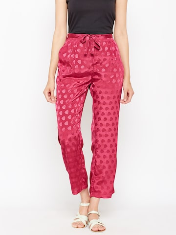 Oxolloxo Women Pink Relaxed Regular Fit Embellished Regular Trousers Oxolloxo Trousers at myntra