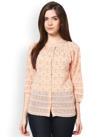 The Gud Look Women Peach-Coloured Printed Top The Gud Look Tops at myntra