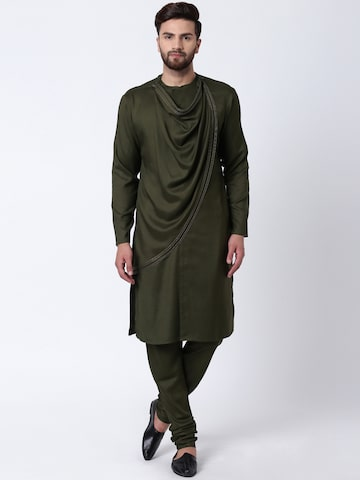 I Know Men Olive Green Solid Straight Kurta I Know Kurtas at myntra