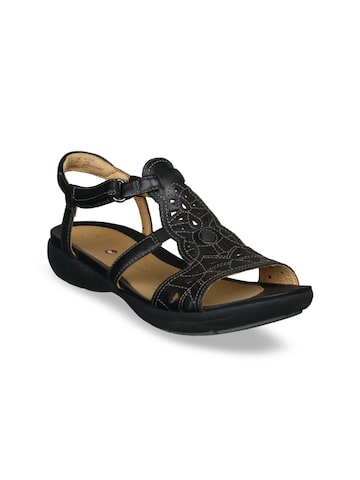 Clarks Women Black Leather Comfort Sandals Clarks Sandals at myntra