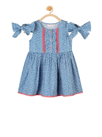 Budding Bees Girls Blue Printed Fit and Flare Dress Budding Bees Dresses at myntra