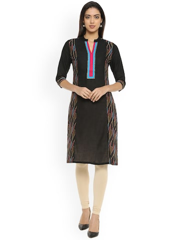 Soch Women Black Printed Straight Kurta Soch Kurtas at myntra