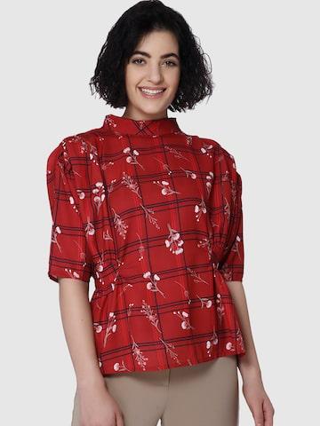 Vero Moda Women Red Printed Top Vero Moda Tops at myntra