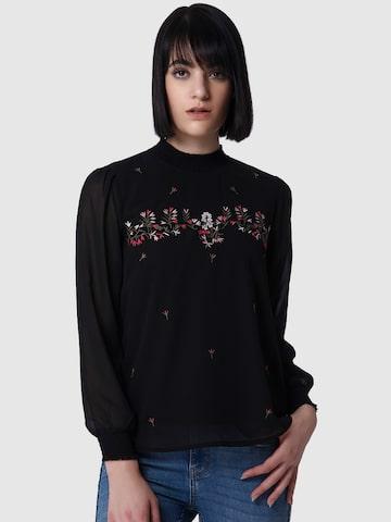 Vero Moda Women Black Embroidered Top Vero Moda Tops at myntra