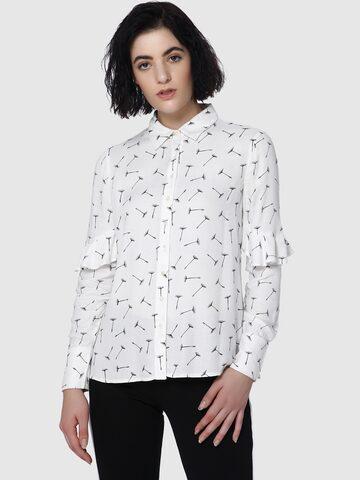Vero Moda Women White Regular Fit Printed Casual Shirt Vero Moda Shirts at myntra