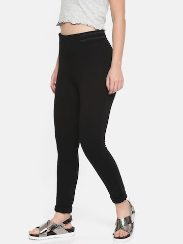 Vero Moda Women Black Regular Fit Solid Treggings Vero Moda Jeggings at myntra