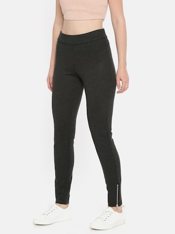 Vero Moda Women Charcoal Grey Regular Fit Solid Treggings Vero Moda Jeggings at myntra