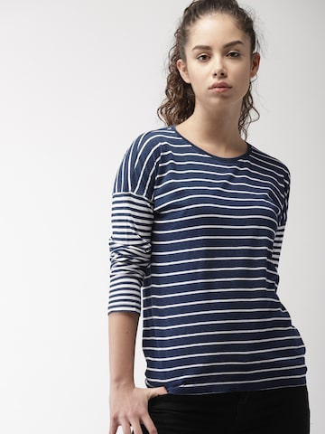 Levis Women Navy Blue & White Striped Round Neck T-shirt Levis Tshirts at myntra