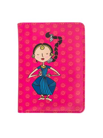 Chumbak Women Pink & Blue Dancers Printed Two Fold Passport Holder Chumbak Wallets at myntra