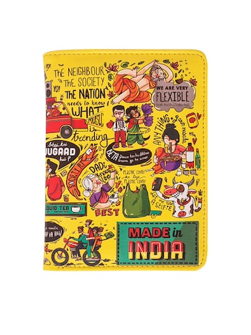 Chumbak Women Yellow Made In India Printed Two Fold Passport Holder Chumbak Wallets at myntra