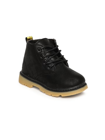 Kittens Boys Black Solid Mid-Top Flat Boots Kittens Casual Shoes at myntra