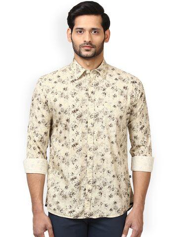 Parx Men Beige & Brown Slim Fit Printed Casual Shirt Parx Shirts at myntra
