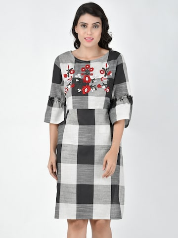 Martini Women Black & Off-White Checked Fit and Flare Dress Martini Dresses at myntra
