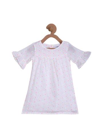 Campana Girls White Self Design A-Line Dress Campana Dresses at myntra