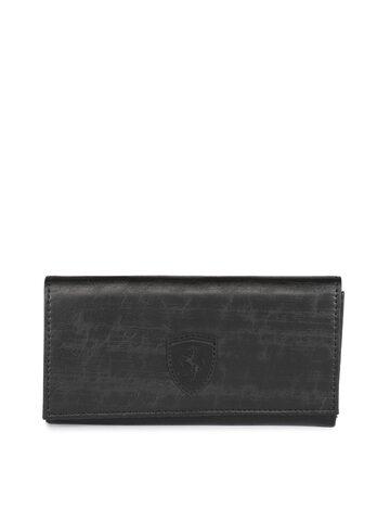 Puma Women Black Textured Two Fold SF Wallet Puma Wallets at myntra