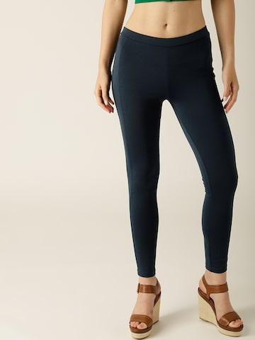 United Colors of Benetton Navy Blue Solid Treggings United Colors of Benetton Jeggings at myntra