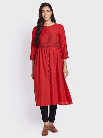 Global Desi Women Red Printed A-Line Kurta Global Desi Kurtas at myntra