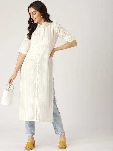 Libas Women White & Yellow Striped Straight Kurta Libas Kurtas at myntra