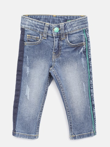 United Colors of Benetton Boys Blue Slim Fit Mid-Rise Low Distress Stretchable Jeans United Colors of Benetton Jeans at myntra