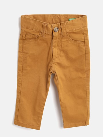 United Colors of Benetton Boys Mustard Brown Regular Fit Solid Trousers United Colors of Benetton Trousers at myntra