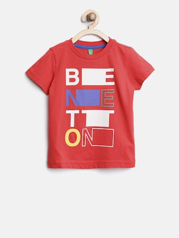 United Colors of Benetton Boys Red Printed Round Neck T-shirt United Colors of Benetton Tshirts at myntra