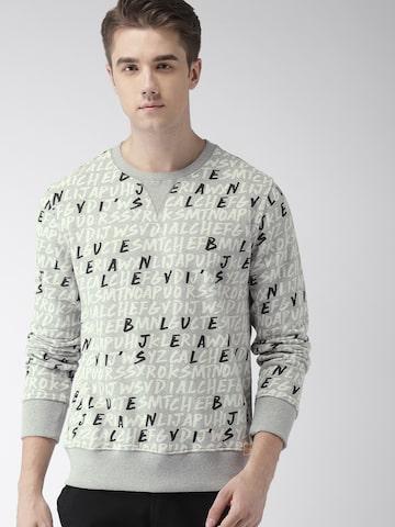 Levis Men Grey Printed Sweatshirt Levis Sweatshirts at myntra