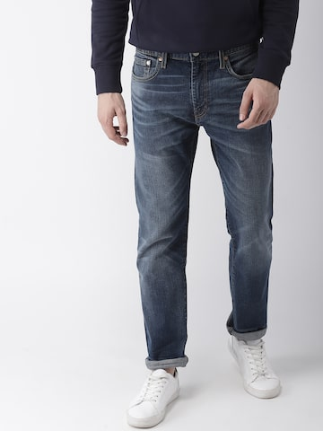 Levis Men Blue Tapered Fit Mid-Rise Clean Look Stretchable Jeans 502 Levis Jeans at myntra