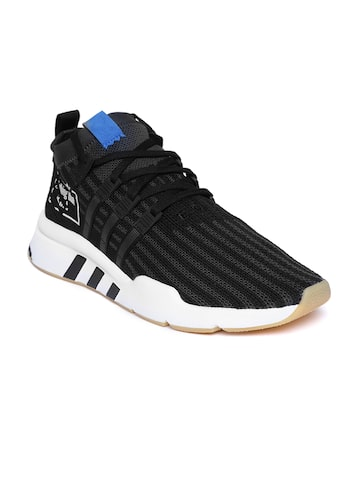 Adidas Originals Men Black Woven Design EQT Support Mid ADV PrimeKnit Sneakers Adidas Originals Casual Shoes at myntra