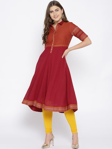 Biba Women Red Yoke Design A-Line Kurta Biba Kurtas at myntra