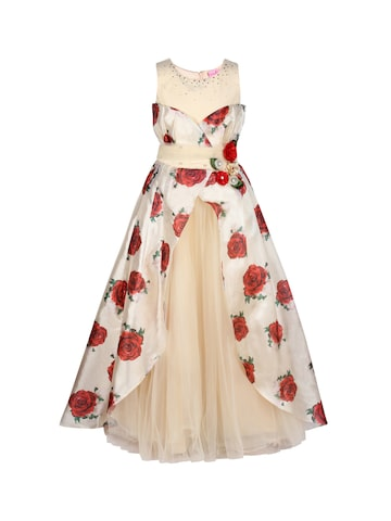 CUTECUMBER Girls Cream-Coloured Printed Maxi Dress CUTECUMBER Dresses at myntra