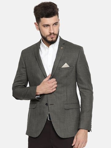 Theme Olive Green & Navy Single-Breasted Casual Fitted Blazer Theme Blazers at myntra