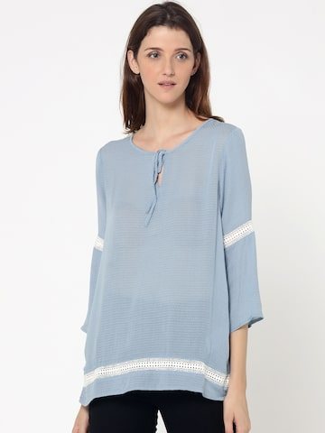 ONLY Women Blue Self Design Top ONLY Tops at myntra