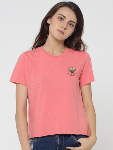 ONLY Women Coral Pink Solid Round Neck T-shirt ONLY Tshirts at myntra