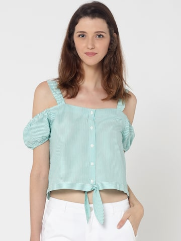 ONLY Women Green & White Striped Top ONLY Tops at myntra