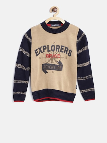 Wingsfield Boys Beige Printed Pullover Wingsfield Sweaters at myntra