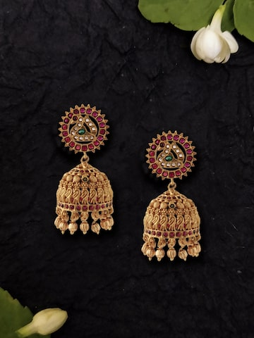 Rubans Gold-Toned & Pink Gold-Plated Dome Shaped Jhumkas Rubans Earrings at myntra