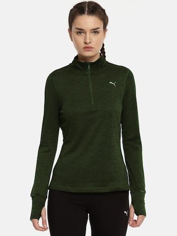 Puma Olive Green Run 1/2 Zip Top W Sweatshirt Puma Sweatshirts at myntra
