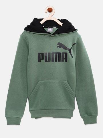 Puma Boys Olive Green Printed Hooded Sweatshirt Puma Sweatshirts at myntra