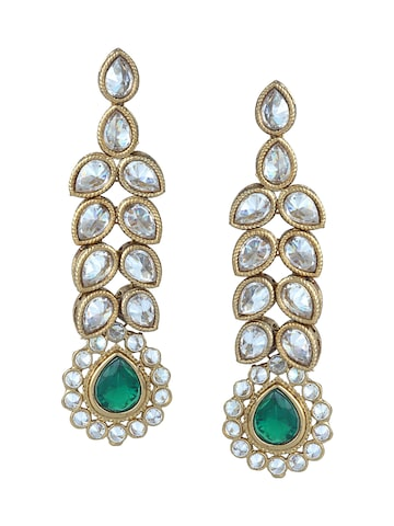 Sia Art Jewellery Gold-Toned & Green Contemporary Drop Earrings Sia Art Jewellery Earrings at myntra