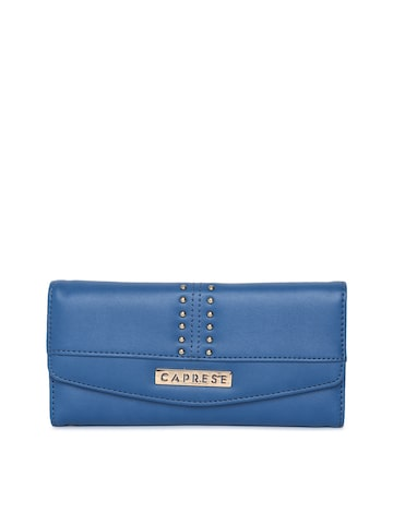 Caprese Women Blue Solid Three Fold Wallet Caprese Wallets at myntra