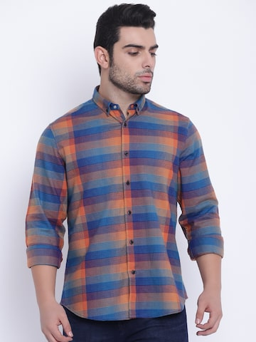 Blackberrys Men Blue & Orange Slim Fit Checked Casual Shirt Blackberrys Shirts at myntra