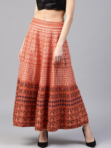 W Women Orange & Beige Self Design Maxi Flared Skirt W Skirts at myntra
