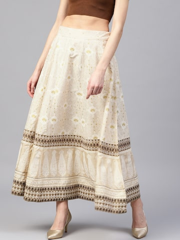 W Women Beige & Off-White Printed Maxi Flared Skirt W Skirts at myntra