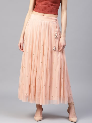 W Women Peach-Coloured Net Embellished Maxi Flared Skirt W Skirts at myntra