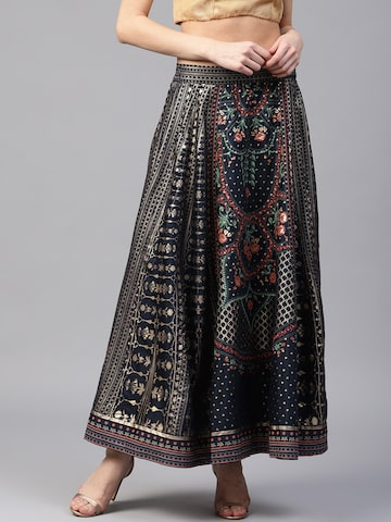 W Women Navy Blue & Golden Printed Maxi Flared Skirt W Skirts at myntra