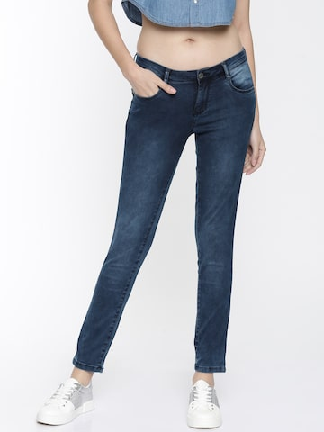 Kraus Jeans Women Blue Mid-Rise Clean Look Stretchable Cropped Jeans Kraus Jeans Jeans at myntra