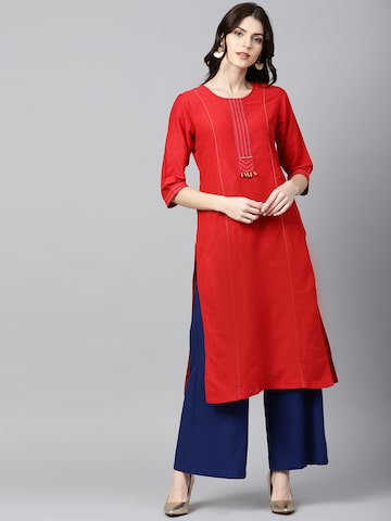 Shree Women Red Solid Straight Kurta Shree Kurtas at myntra