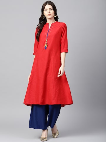 Shree Women Red Solid A-Line Kurta Shree Kurtas at myntra