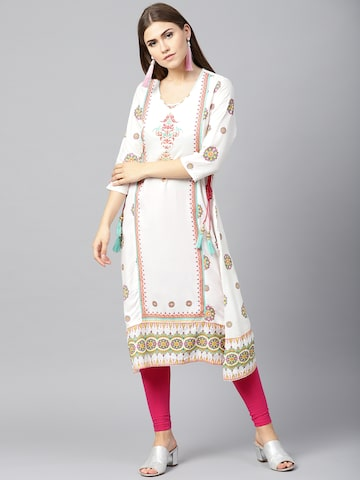 Shree Women White & Magenta Printed A-Line Kurta Shree Kurtas at myntra