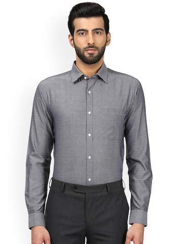Raymond Men Grey Slim Fit Checked Formal Shirt Raymond Shirts at myntra